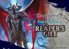 Reaper's Gift is the fourth Trial Deck for the Dragoborne -Rise To Supremacy- Trading Card Game.ContentsA constructed deck consisting of 53 cards.Includes 3 dice, a paper playmat, and a rulebook for the game.Features 20 unique cards, with 6 Trial Deck exclusives and 6 holo cards.The deck will feature Black, Red and Blue banners.