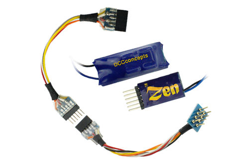 <p><strong>DCC Concepts Zen N68 2 Function Decoder with Stay Alive</strong><br /><br />Like the larger Zen decoders the N68 features very smooth motor drive characteristics which allow for slow speed running even inside N scale locomotives along with a separate stay alive unit.<br /> A 6 pin to 8 pin connection lead is supplied making this decoder ideal for small OO locos with limited decoder space.</p>