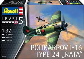 Revell 1/32 Polikarpov I-16 Type 24 Rata Kit 03914Length 190mm   Number of Parts 115    Wingspan 281mmGlue and paints are required to assemble and complete the model (not included)