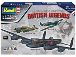 Revell 100 Years RAF: Flying Legends plastic kit gift pack containing 1:72 scale model kits of the Supermarine Spitfire, Avro Lancaster and Hawker Hurricane. Contacta glue, the core paint colours and a paint brush are supplied in the pack.