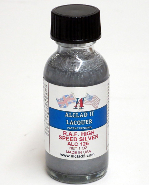 Alclad High Speed Silver Lacquer ALC125<br>Alclad metalic finish lacquer reproducing the dull, heat-effected discolouration of engine manifolds.