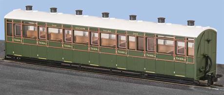 A detailed model of the Lynton & Barnstaple Railway enclosed all-third class coaches which were used on trains throughout the year.Finished as Southern Railway coach 2469 in SR green livery.These finely detailed ready to run coaches and wagons are accurately modelled on the rolling stock of the Lynton and Barnstaple Railway, both as an independent railway and after its' absorption into the Southern railway in 1922. They are also available painted but unlettered for those modellers who wish to tailor them for use on other lines.Length 167mm over couplings