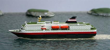 Nordlys is a 1/1250 scale metal model of a TFDS express route or hurtigruten ship in 1993 condition