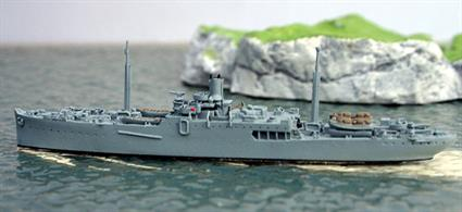 A 1/1250 scale metal model of USS Prometheus, AR.3, a repair ship sister to USS Vestal that was badly damaged at Pearl Harbor but Prometheus is modelled in a later rig. Prometheus was laid up at Bremerton until 1942 but then towed the ARD.2 floating drydock from Pearl Harbor to Noumea where both worked until 1944. Prometheus then went to Palau Island, Ulithi & Leyte and sailed to San Francisco after war ended.