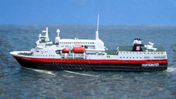 A 1/1250 scale metal model of the 2016 Hurtigruten ASA company.ship Vesteralen.