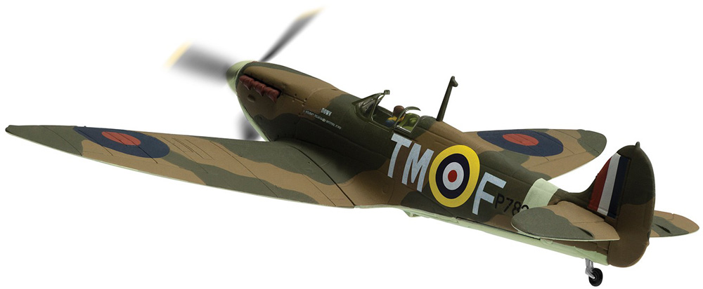 "Corgi AA39213 1/72 Supermarine Spitfire Mk.IIa P7823 / TM-F 'Down Belfast Telegraph Spitfire Fund' - 100 Years of the RAF<span style=""white-space:pre"">		</span>Wingspan 166mm.<p><br></p>"