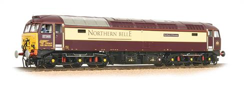 A nicely detailed model of 57312, originally converted from a class 47 locomotive for Virgin Trains as a 'Thunderbird' emergency assistance locomotive and now owned by DRS.This is one of the locomotives specially painted in Pullman style livery for service with the Northern Belle train with the name Solway Princess.