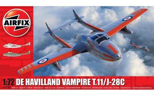Airfix A02058A 1/72nd D H Vampire T11 RAF Trainer Aircraft KitNumber of Parts 55 Length 164mm Wingspan 161mm