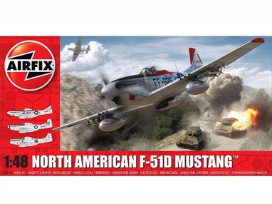 Airfix A05136 1/48th North American F-51D Mustang Fighter Aircraft KitNumber of Parts 147  Length 205mm Wingspan 236mm