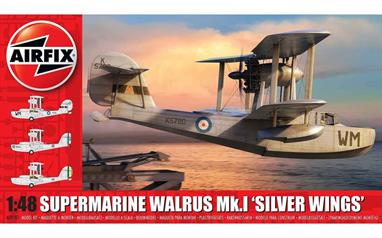 Airfix A09187 1/48th Supermarine Walrus Mk.1 Silver Wings Aircraft KitNumber of Parts 156  Length 238mm Wingspan 292mm