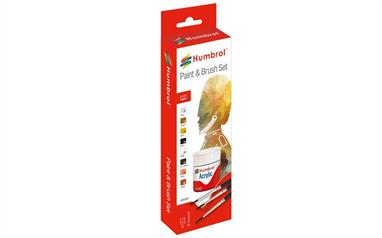 Humbrol Acrylic Figure Paint and Brush Set AB9060