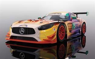 Scalextric 1/32 Mercedes AMG GT3 2017 SunEnergy 1 Racing Daytona 24 Hours C3941Racing in the IMSA WeatherTech Sports Car Championship, this Mercedes AMG GT3 features one of the most striking liveries ever put onto a Scalextric model. Mimicking the heat of the sun in reference to its sponsor SunEnergy, the car seems to be a mass of heat and flame flying around the circuit. The car itself raced at the 2017 Daytona 24 Hours and has continued to be a fixture in the IMSA series throughout the year. Raced by a number of drivers including factory Mercedes man Maro Engel, the car itself sadly did not finish, but its livery certainly left a lasting impact on spectators.