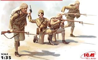 35700 is a pack of 4 kit build figures of the Turkish Infantry as seen at Gallipoli