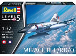 Revell 03919 1/32 Scale Dassault Mirage III ENumber of Parts 366   Length 465mm   Wingspan 256mm    Height 140mm