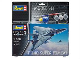 Revell 63950 1/100 Scale F-14D Super Tomcat Model SetLength 191mm	Number of Parts 30		Wingspan 195mmComes with glue and paints