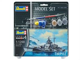 Revell 65822 1/1200 Scale German Battleship Tirpitz Model SetThe last battleship of the German Navy!Length 200mmWaterline kit of just 31 parts that can turn out a nicely detailed model.Comes with glue and paints.