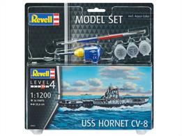 Revell 65823 1/1200 Scale USS Hornet CV-8 Aircraft Carrier Model SetLength 206mm	Number of Parts 36Comes with glue and Paints