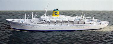 A 1/1250 scale metal model of Federico C of Costa Cruises in 1959 by CM Miniaturen.Federico C was the first new build liner and cruise ship for Costa Cruises. She made transatlantic voyages and cruised around the east and south of USA. Eventually, she became a full time cruise ship. After changes of ownership and under the name Sea Breeze she sank under unusual circumstances 250 miles off the coast of the USA in December 2000 with no loss of life. Only 25 crew had been on board.