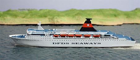 New 1/1250 scale model of Tor Britannia operated by DFDS Seaways in 1982. Model made by Albatros S M AL278A. Overall model length 14.9cm