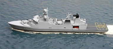 A 1/1250 scale metal model of the new Danish Frigate Niels Juel F363 by Albatros S M Alk601B
