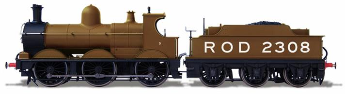 Detailed model of the GWR Dean design 'standard goods' 0-6-0 engine finished in military khaki colours as serving with the Railways Operating Department of the Royal Engineers during WW1.