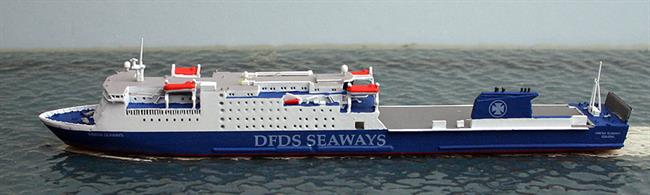 A 1/1250 scale metal waterline model of Sirena Seaways, ex-Dana Sirena in 2013.