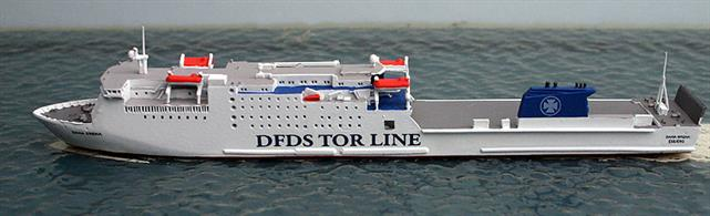 A 1/1250 scale metal waterline model of the ferry Dana Sirena 2003-2013 by Rhenania Junior RJ304.