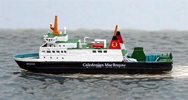 A 1/1250 scale metal waterline model of Argyle of Calmac ferries by Rhenania Junior RJ74A who also makes the sistership, Bute, RJ74.