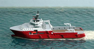 A 1/1250 scale waterline metal model of off-shore support vessel Pacific Discovery by Rhenania Junior RJ281.Pacific Discovery is currently working in the South Atlantic off the coast of West Africa.