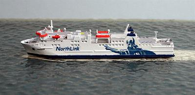 A 1/1250 scale waterline metal model of Hamnavoe the Orkney Islans ferry running from Srabster to Stromess. The model is made by Rhenania Junior RJ303