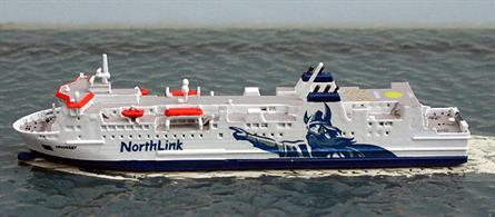 A 1/1250 scale waterline metal model of Hrossey the Shetland & Orkney ferry from 2014 by Rhenania Junior RJ308. The model is fully assembled and painted with the Viking emblem as Hrossey is today.