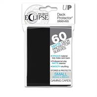 The Eclipse PRO-Matte Deck Protector sleeves completely hides card backs with an added layer of opaque black material. As a part of the PRO-Matte line, the Eclipse sleeves uses matte clear material to show the card face while minimizing glare and offering a unique, smooth and professional shuffling experience. Each pack comes with 60 sleeves. This product is sized to fit small (Yu-Gi-Oh!) size gaming cards.PRO-Matte Black Deck Protector sleeves in an 60-count packSized to fit small (Yu-Gi-Oh!) size gaming cardsInner black layer makes the colored sleeve back completely opaqueMatte clear front minimizes glare for easy reading and better on-camera presentationArchival-safe, polypropylene materials with unique formulation providing a smooth, professional shuffle