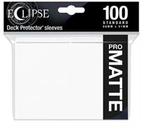 The Eclipse PRO-Matte Deck Protector sleeves completely hides card backs with an added layer of opaque material. As a part of the PRO-Matte line, the Eclipse sleeves uses matte clear material to show the card face while minimizing glare and offering a unique, smooth and professional shuffling experience. Each pack comes with 100 sleeves.PRO-Matte Eclipse Arctic White Deck Protector sleeves in an 100-count packSized to fit standard (Magic) size gaming cardsInner layer makes the colored sleeve back completely opaqueMatte clear front minimizes glare for easy reading and better on-camera presentationArchival-safe, polypropylene materials with unique formulation providing a smooth, professional shuffle