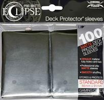 The Eclipse PRO-Matte Deck Protector sleeves completely hides card backs with an added layer of opaque material. As a part of the PRO-Matte line, the Eclipse sleeves uses matte clear material to show the card face while minimizing glare and offering a unique, smooth and professional shuffling experience. Each pack comes with 100 sleeves. Note: These new Eclipse sleeves has a slight color change from the original 80-count pack version, and the manufacturer recommends not mixing the 80-count and the 100-count packages.PRO-Matte Eclipse Jet Black Deck Protector sleeves in an 100-count packSized to fit standard (Magic) size gaming cardsInner layer makes the colored sleeve back completely opaqueMatte clear front minimizes glare for easy reading and better on-camera presentationArchival-safe, polypropylene materials with unique formulation providing a smooth, professional shuffle