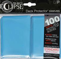 The Eclipse PRO-Matte Deck Protector sleeves completely hides card backs with an added layer of opaque material. As a part of the PRO-Matte line, the Eclipse sleeves uses matte clear material to show the card face while minimizing glare and offering a unique, smooth and professional shuffling experience. Each pack comes with 100 sleeves. Note: These new Eclipse sleeves has a slight color change from the original 80-count pack version, and the manufacturer recommends not mixing the 80-count and the 100-count packages.PRO-Matte Eclipse Sky Blue Deck Protector sleeves in an 100-count packSized to fit standard (Magic) size gaming cardsInner layer makes the colored sleeve back completely opaqueMatte clear front minimizes glare for easy reading and better on-camera presentationArchival-safe, polypropylene materials with unique formulation providing a smooth, professional shuffle