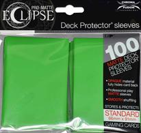 The Eclipse PRO-Matte Deck Protector sleeves completely hides card backs with an added layer of opaque material. As a part of the PRO-Matte line, the Eclipse sleeves uses matte clear material to show the card face while minimizing glare and offering a unique, smooth and professional shuffling experience. Each pack comes with 100 sleeves. Note: These new Eclipse sleeves has a slight color change from the original 80-count pack version, and the manufacturer recommends not mixing the 80-count and the 100-count packages.PRO-Matte Eclipse Lime Green Deck Protector sleeves in an 100-count packSized to fit standard (Magic) size gaming cardsInner layer makes the colored sleeve back completely opaqueMatte clear front minimizes glare for easy reading and better on-camera presentationArchival-safe, polypropylene materials with unique formulation providing a smooth, professional shuffle