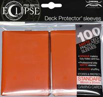 The Eclipse PRO-Matte Deck Protector sleeves completely hides card backs with an added layer of opaque material. As a part of the PRO-Matte line, the Eclipse sleeves uses matte clear material to show the card face while minimizing glare and offering a unique, smooth and professional shuffling experience. Each pack comes with 100 sleeves. Note: These new Eclipse sleeves has a slight color change from the original 80-count pack version, and the manufacturer recommends not mixing the 80-count and the 100-count packages.PRO-Matte Eclipse Pumpkin Orange Deck Protector sleeves in an 100-count packSized to fit standard (Magic) size gaming cardsInner layer makes the colored sleeve back completely opaqueMatte clear front minimizes glare for easy reading and better on-camera presentationArchival-safe, polypropylene materials with unique formulation providing a smooth, professional shuffle