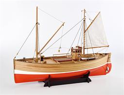 Fifie is a  detailed large scale wood kit of a Scottish motor fishing vessel to a traditional design used for Herring fishing. The kit has been designed for a motor and radio gear to be fitted for radio control sailing.Completed length 700mm / 27½in (approx). Model Ship World review of this kit.