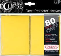The Eclipse PRO-Matte Deck Protector sleeves completely hides card backs with an added layer of opaque black material. As a part of the PRO-Matte line, the Eclipse sleeves uses matte clear material to show the card face while minimizing glare and offering a unique, smooth and professional shuffling experience. Each pack comes with 80 sleeves.PRO-Matte Eclipse Yellow Deck Protector sleeves in an 80-count packSized to fit standard (Magic) size gaming cardsInner black layer makes the colored sleeve back completely opaqueMatte clear front minimizes glare for easy reading and better on-camera presentationArchival-safe, polypropylene materials with unique formulation providing a smooth, professional shuffle