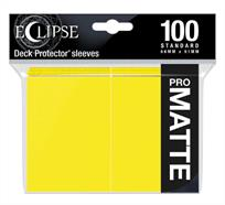 The Eclipse PRO-Matte Deck Protector sleeves completely hides card backs with an added layer of opaque material. As a part of the PRO-Matte line, the Eclipse sleeves uses matte clear material to show the card face while minimizing glare and offering a unique, smooth and professional shuffling experience. Each pack comes with 100 sleeves. Note: These new Eclipse sleeves has a slight color change from the original 80-count pack version, and the manufacturer recommends not mixing the 80-count and the 100-count packages.PRO-Matte Eclipse Lemon Yellow Deck Protector sleeves in an 100-count packSized to fit standard (Magic) size gaming cardsInner layer makes the colored sleeve back completely opaqueMatte clear front minimizes glare for easy reading and better on-camera presentationArchival-safe, polypropylene materials with unique formulation providing a smooth, professional shuffle