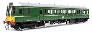 A finely detailed model of the Pressed Steel BR class 121 single car 'bubble car' diesel multiple unit trains built in 1960, with the last two still in service recently and 8 examples preserved. This model is finished as car W55027 in the revised BR DMU green livery with small yellow warning panels.