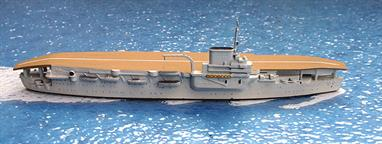 A 1/1250 scale second-hand model of Bearn an aircraft carrier built on a spare battleship hull after the Washington Treaty. This model is by Trident T1100 and is in excellent condition in light grey with a painted wood deck, see photograph.