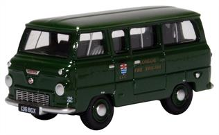 Oxford Diecast 76FDE016 1/76th Ford 400E Minibus London Fire Brigade Green