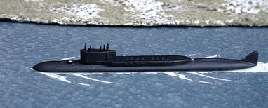 A 1/1250 scale secondhand metal model of the Yuri Dolgorukiy, a Borei-class Russian SSBN by Highworth models VK001.This model is in excellent original condition and appears to have been professionally painted and detailed.