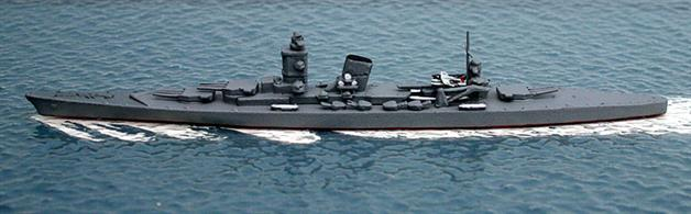 A 1/1250 scale secondhand model of the Japanese Project 65 of 1942 for a super type A cruiser by Anker An31. The model is in very good condition, having been re-painted in a grey which matches Neptun Japanese warship models. See photograph.