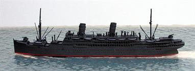 A 1/1250 scale metal model of Kotobuki Maru, ex-Conte Verde, converted to a troop transport by the Japanese in 1945 by CM Miniaturen CM-P168