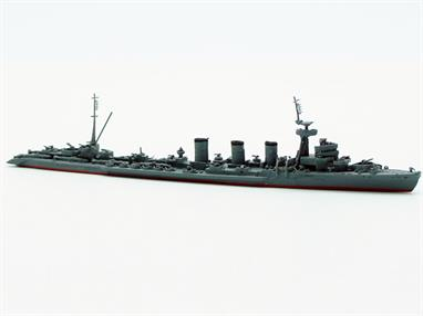 Navis's latest take of a Kuma class light cruser is an excellent waterline metal model of the long and lean Japanese light cruiser Kitakami after its late war conversion to a Kaiten Human Torpedo carrier.