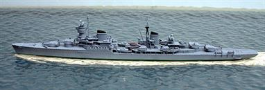 A 1/1250 scale metal model of Chapaev, a Soviet Union cruiser from 1950.