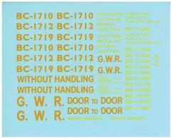 Pack of lettering for GWR ype B containers as supplied with kit PS39.