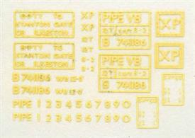 Lettering transfer sheet from the Parkside BR Pipe wagon kit PS17